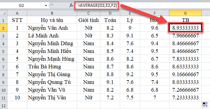 average-trong-excel