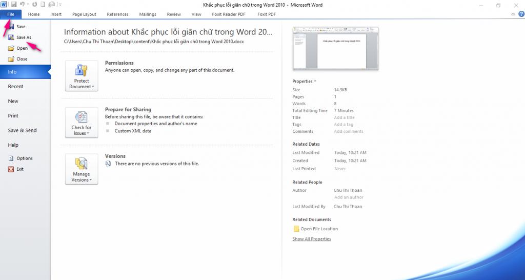cách lưu file Word thành PDF